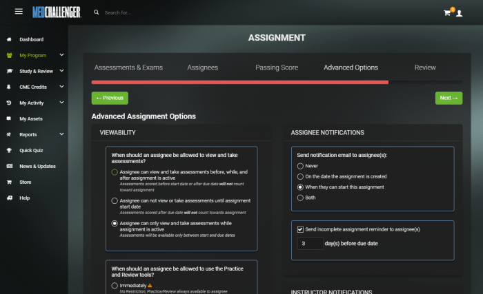 Medical Education Assignment Management from Med-Challenger
