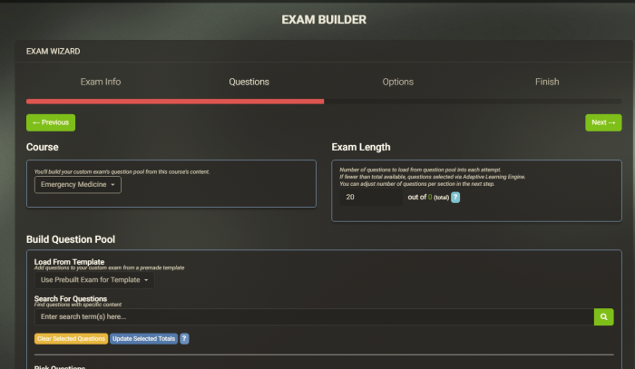 build custom exams online with Med-Challenger