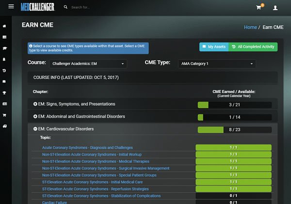 Med-Challenger, Earn CME, Claim CME, Online Board Review, Dashboard, Online Medical Education