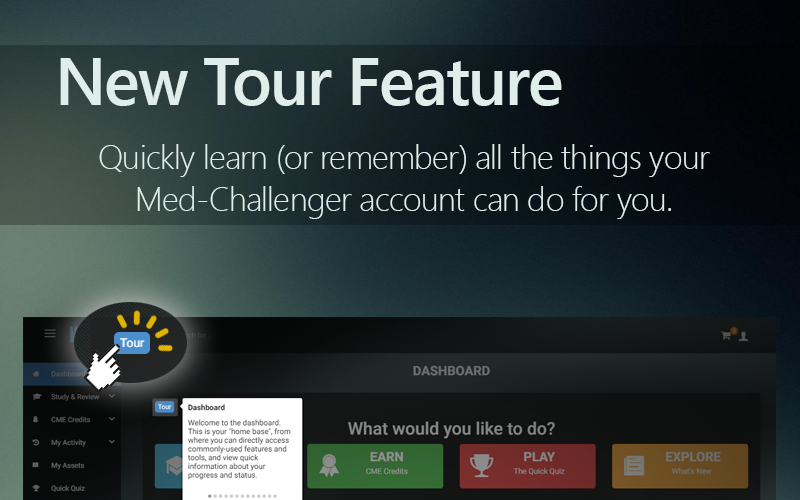 Med-Challenger, Guided Tour, Online Medical Education, Best Board Review, In-App Tour