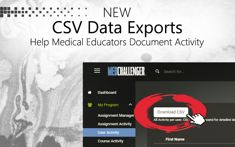 CSV data exports of online educational activity