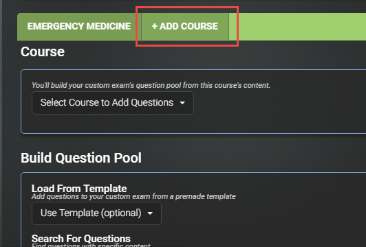 Med-Challenger, Custom Exam Builder, Add Course, Online Board Review, Online Medical Education, Best Board Review, Group Medical Education