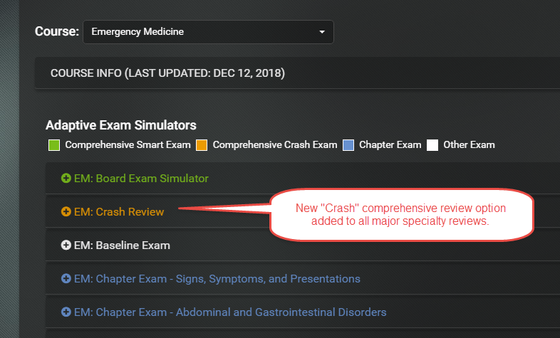 New Comprehensive Exam Review Crash Option in Med-Challenger