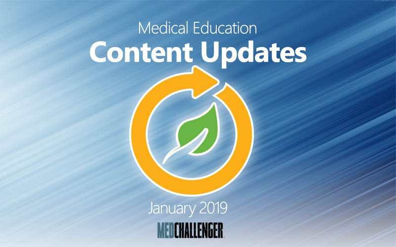 Med-Challenger's medical education content updates for January 2019