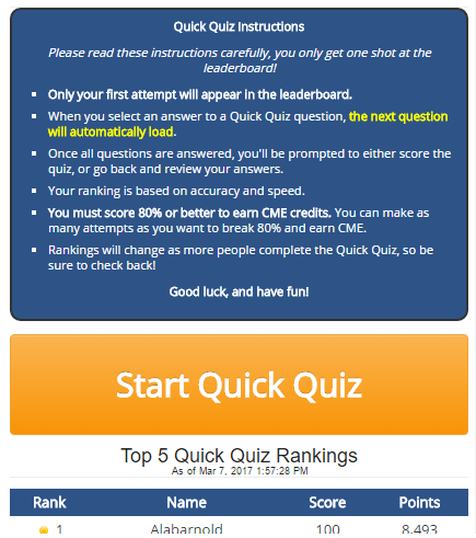 free cme quick quiz user guide start