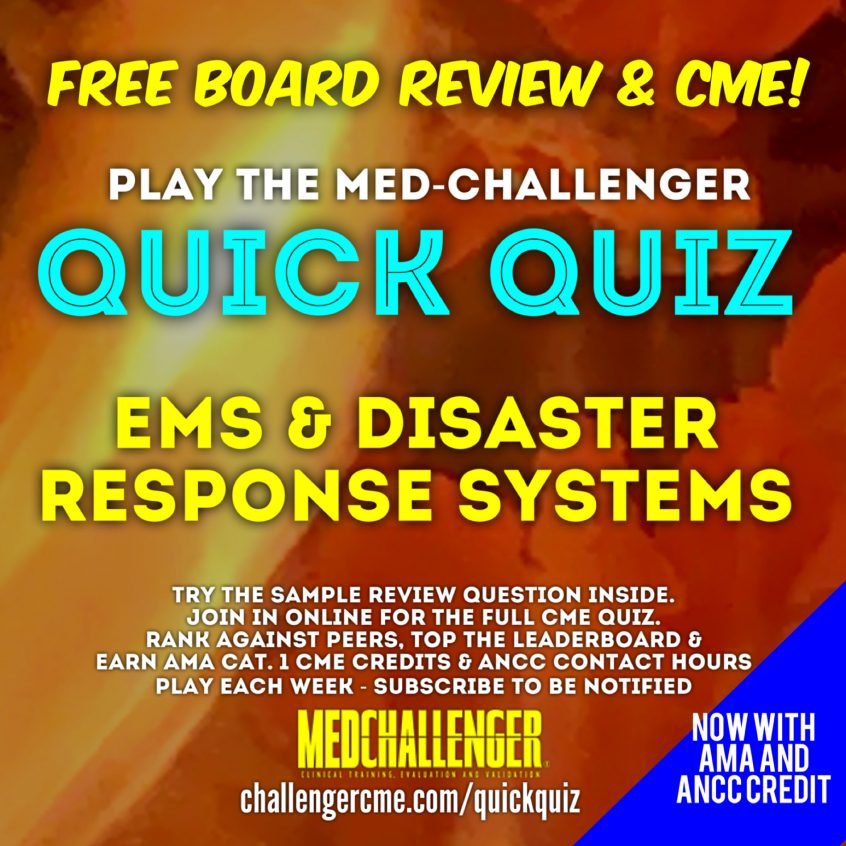 EMS and Disaster Response Systems Questions covering air medical transport, chlorine gas inhalation, and blast trauma. Free CME credit.